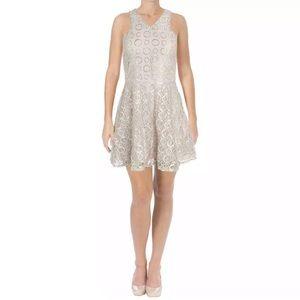🆕 AQUA- Metallic Champagne Mini Party Dress